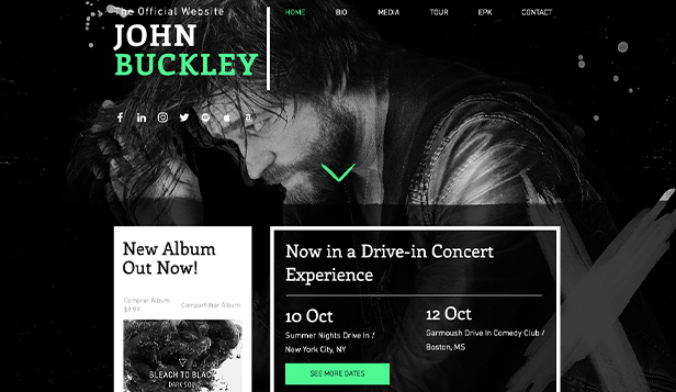 Musikk website templates – Alternativ rock