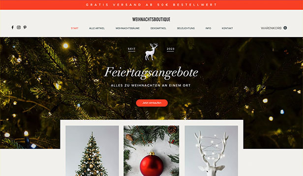 Religion website templates – Weihnachtsboutique