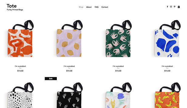 Juwelen en accessoires website templates – Tote Bag Shop