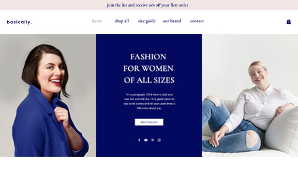 ऑनलाइन स्टोर website templates – Plus Size Fashion