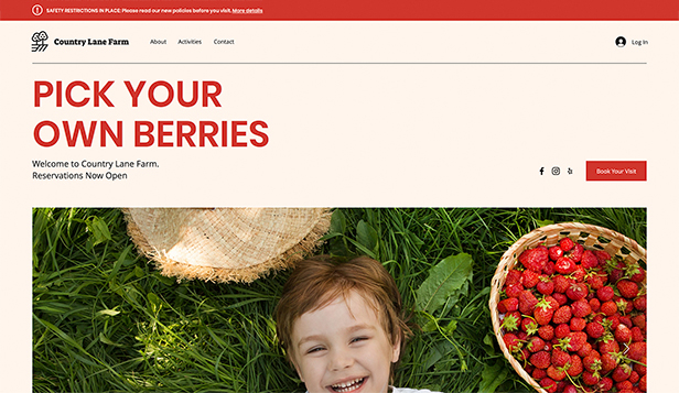Virksomheter website templates – Pick-Your-Own Farm