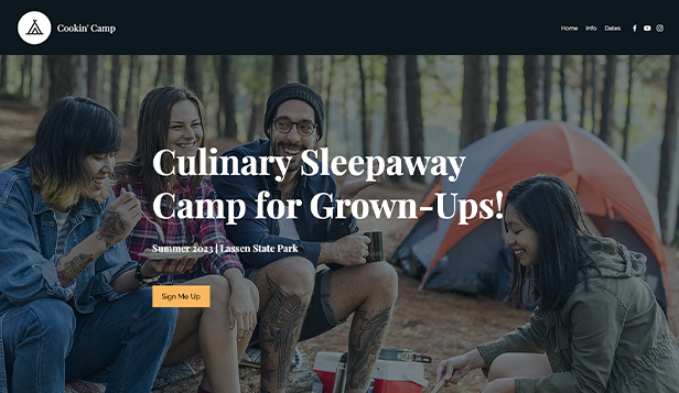Vše website templates – Grown-Up Chef Camp