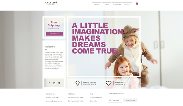 Barn & bebisar website templates – Maskeradbutik för barn