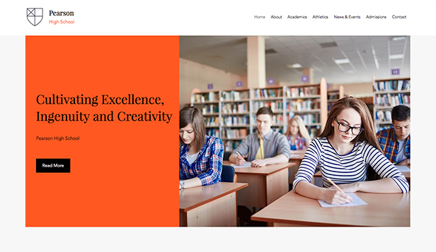 Scholen en universiteiten website templates – Middelbare school