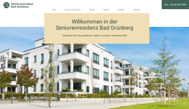 Wellness website templates – Pflegeheim