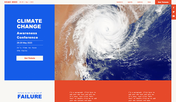 Evenemang website templates – Climate Change Conference