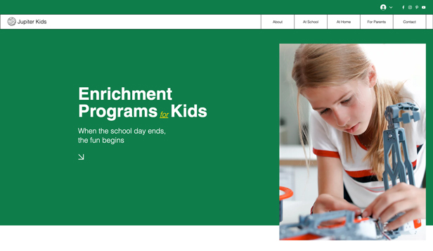 Utdanning website templates – Enrichment Classes