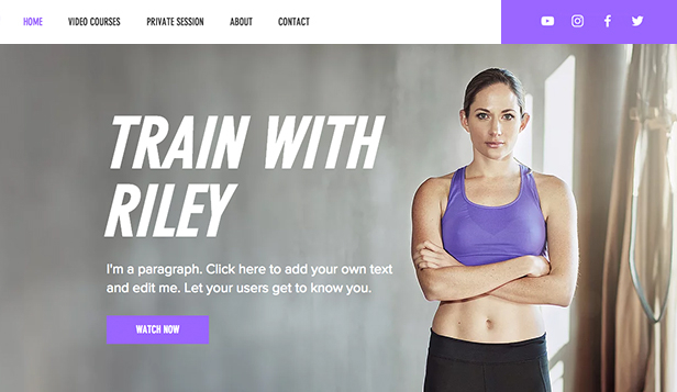 Sport en fitness website templates – Online fitnessvideo's