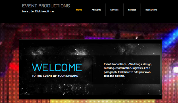 Musikindustrie website templates – Event-Organisation