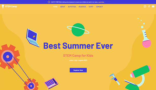 Lessen en cursussen website templates – STEM kamp