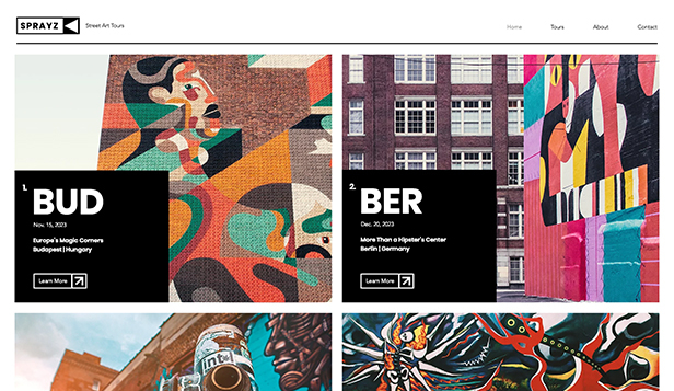 Resetjänster website templates – Graffiti-rundturer