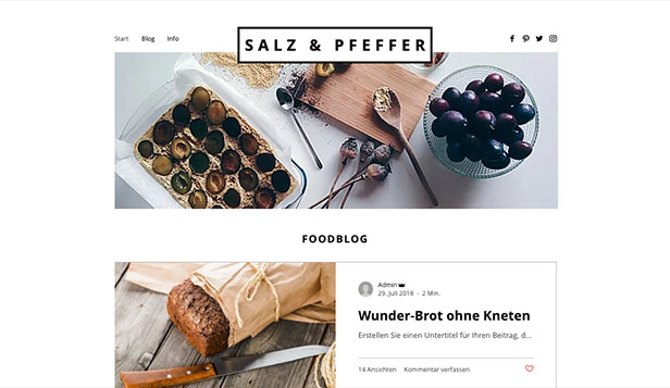 Blog website templates – Food-Blog