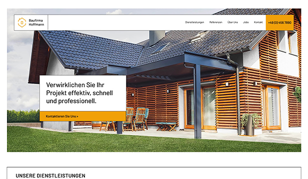 Immobilien website templates – Bauunternehmen
