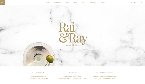 Restaurant og mat website templates – Loungebar