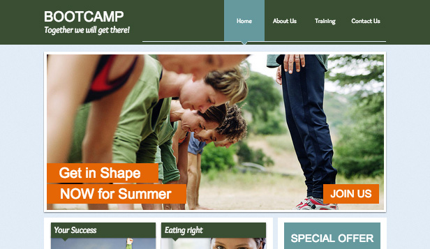 Sport & Fitness website templates – Bootcamp
