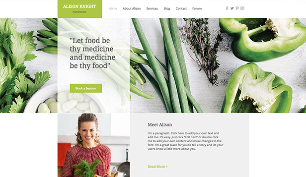 Gezondheid en wellness website templates – Dietitian