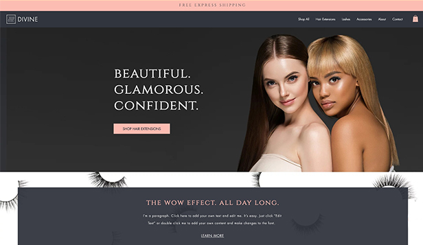 Beauty en wellness website templates – Hairextensions en wimperwinkel
